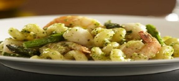 Cellentani with Basil Pesto, Asparagus and Seafood