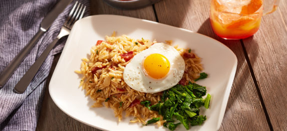 """Bacon and Eggs Orzo """"Risotto"""""""