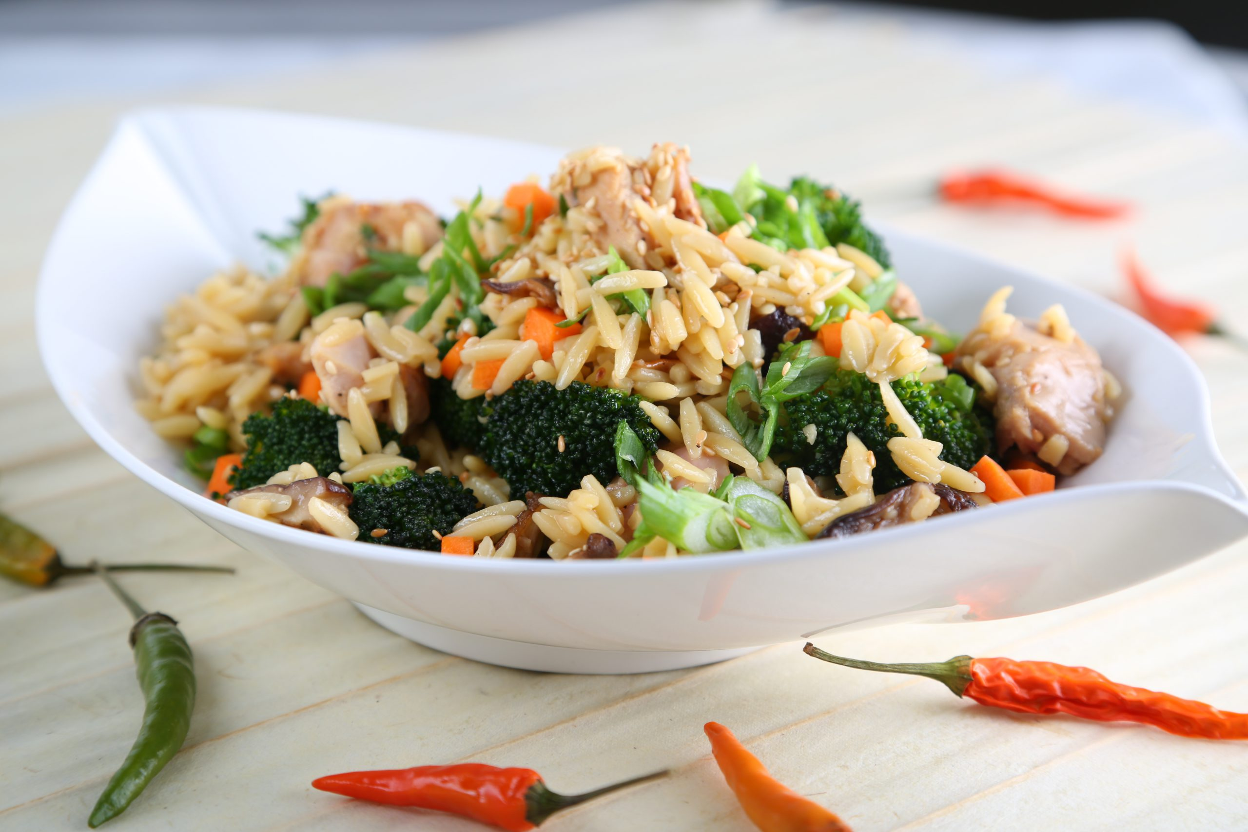 Orzo Fried Rice with Turkey Thighs