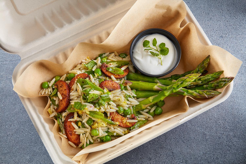 """Carbonara"" Orzo Pasta Salad with Spring Vegetables and Portobello Lardons"