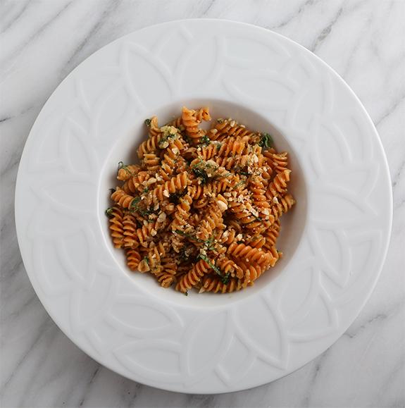 Red Lentil Rotini with Hazelnut-Basil Pesto