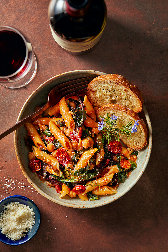 Mostaccioli with Kale & Chickpeas