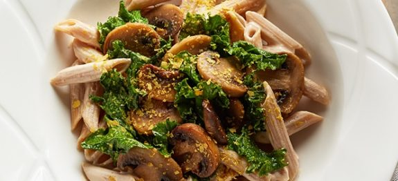 Whole Grain Penne with Braised Kale and Cashew Alfredo
