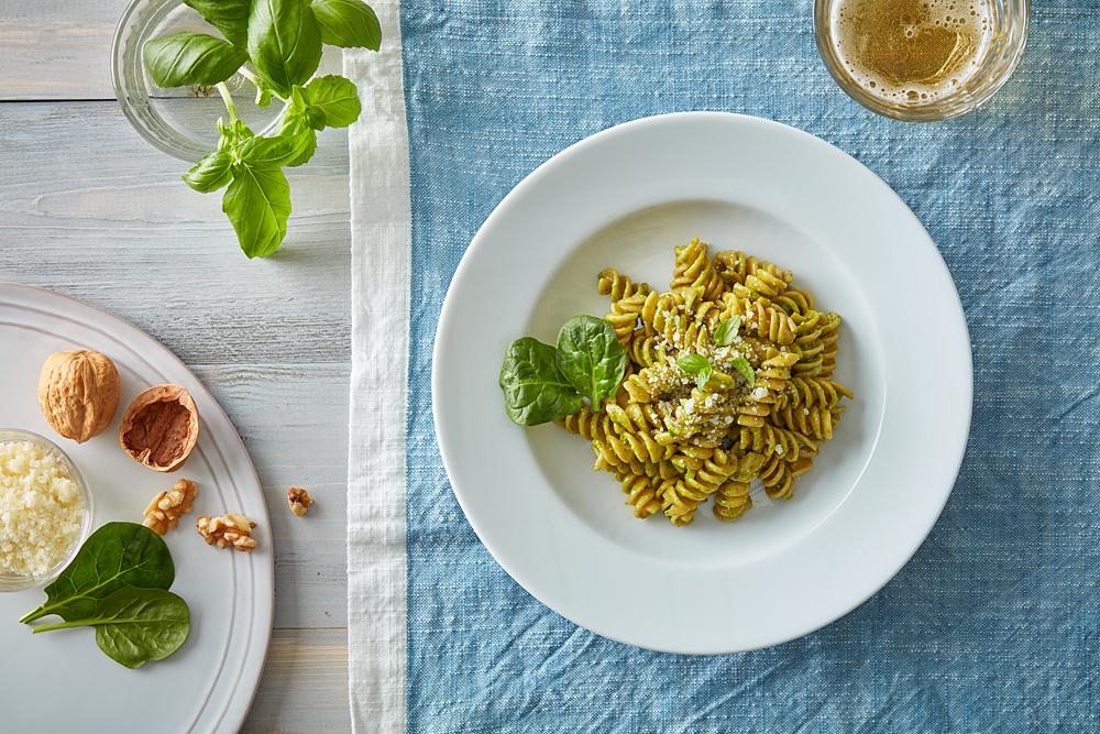 Rotini With Spinach Pesto