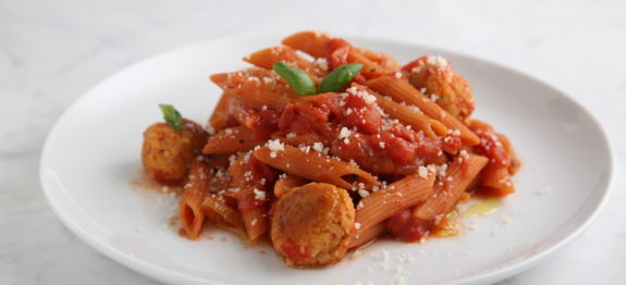 """Red Lentil Penne with Chickpea """"Meatballs"""" and Spicy Tomato Sauce"""