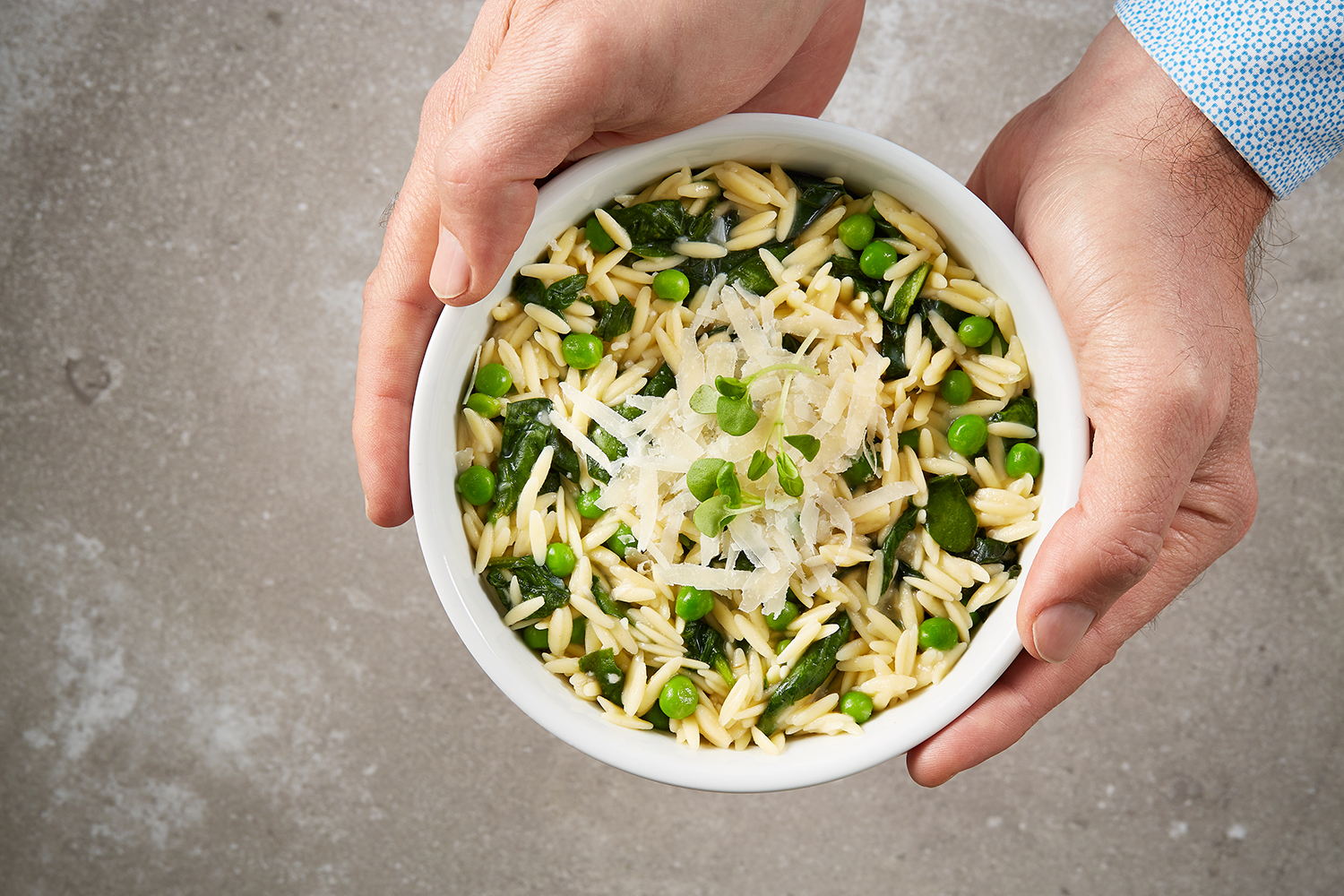 Baked Orzotto with Cavallo Nero and Spring Peas