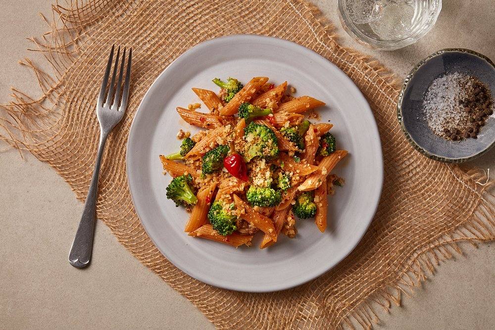 Red Lentil Penne with Cauliflower, Broccoli and Italian Umami Butter