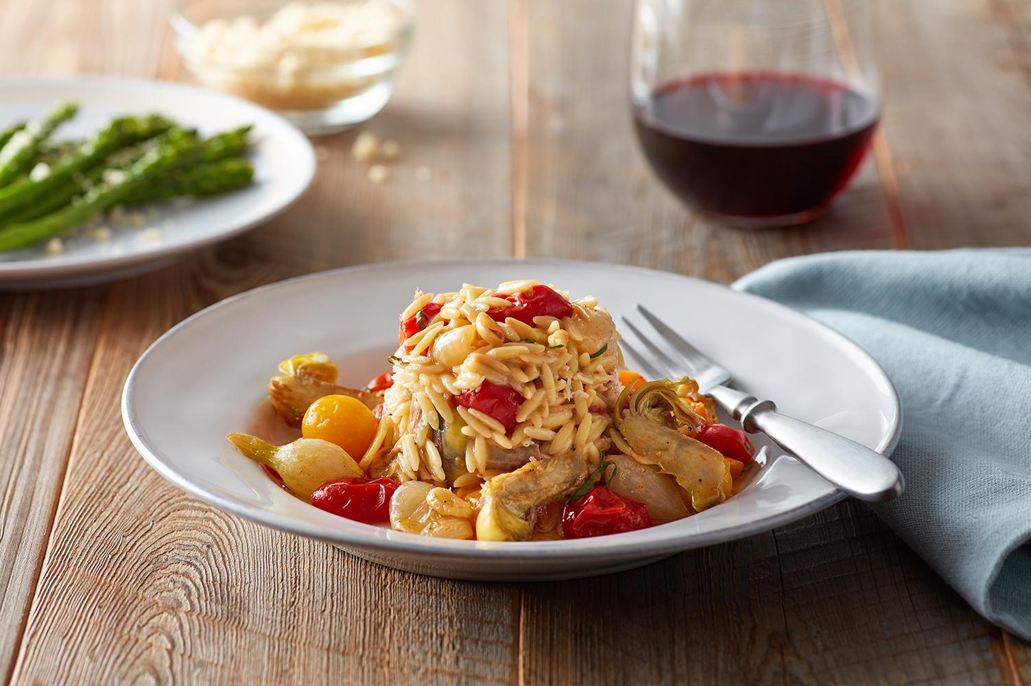 "Artichoke & Roasted Tomato Orzo, ""Risotto Style"""