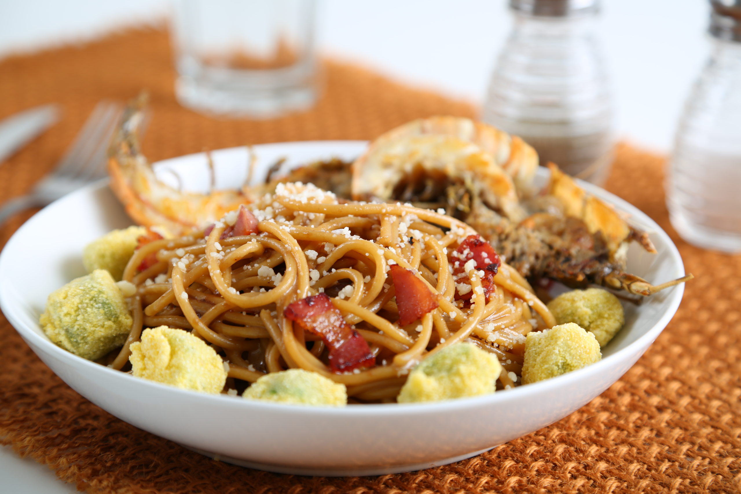 """""""Occhi Rossi"""" – Thick Spaghetti with Red Eye Gravy, Gulf Shrimp, Country Ham, and Fried Okra"""